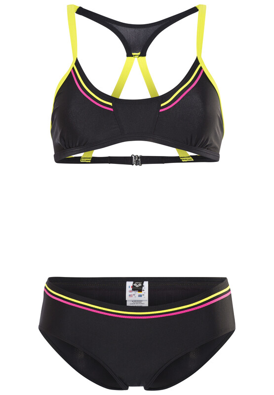 Sporty 2 A Top Women black/soft green/fresia rose Bikinis