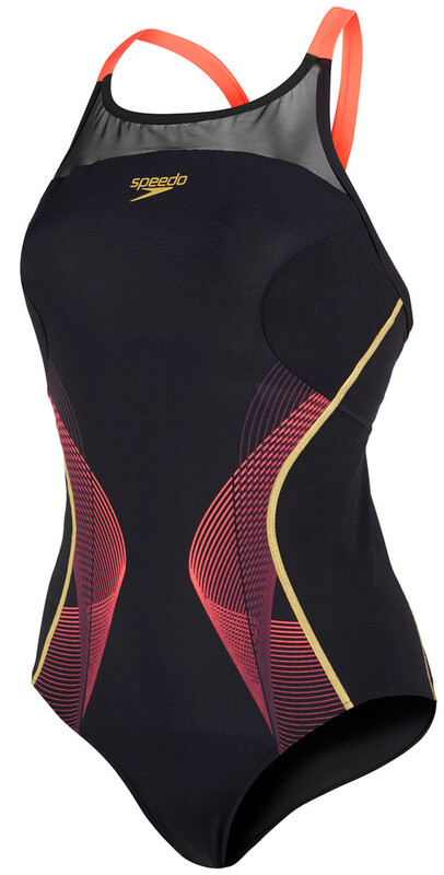 Endurance+ Fit Pinnacle Xback Swimsuit Women black/pyscho red/global gold 2016 Badeanzüge