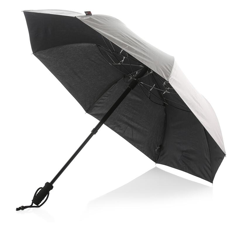 teleScope handsfree UV Regenschirm silber metallic Regenschirme