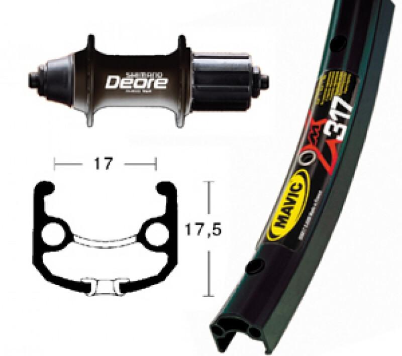 XM 317 H-Rad 26x1.75 mit Deore Nabe schwarz MTB Hinterräder