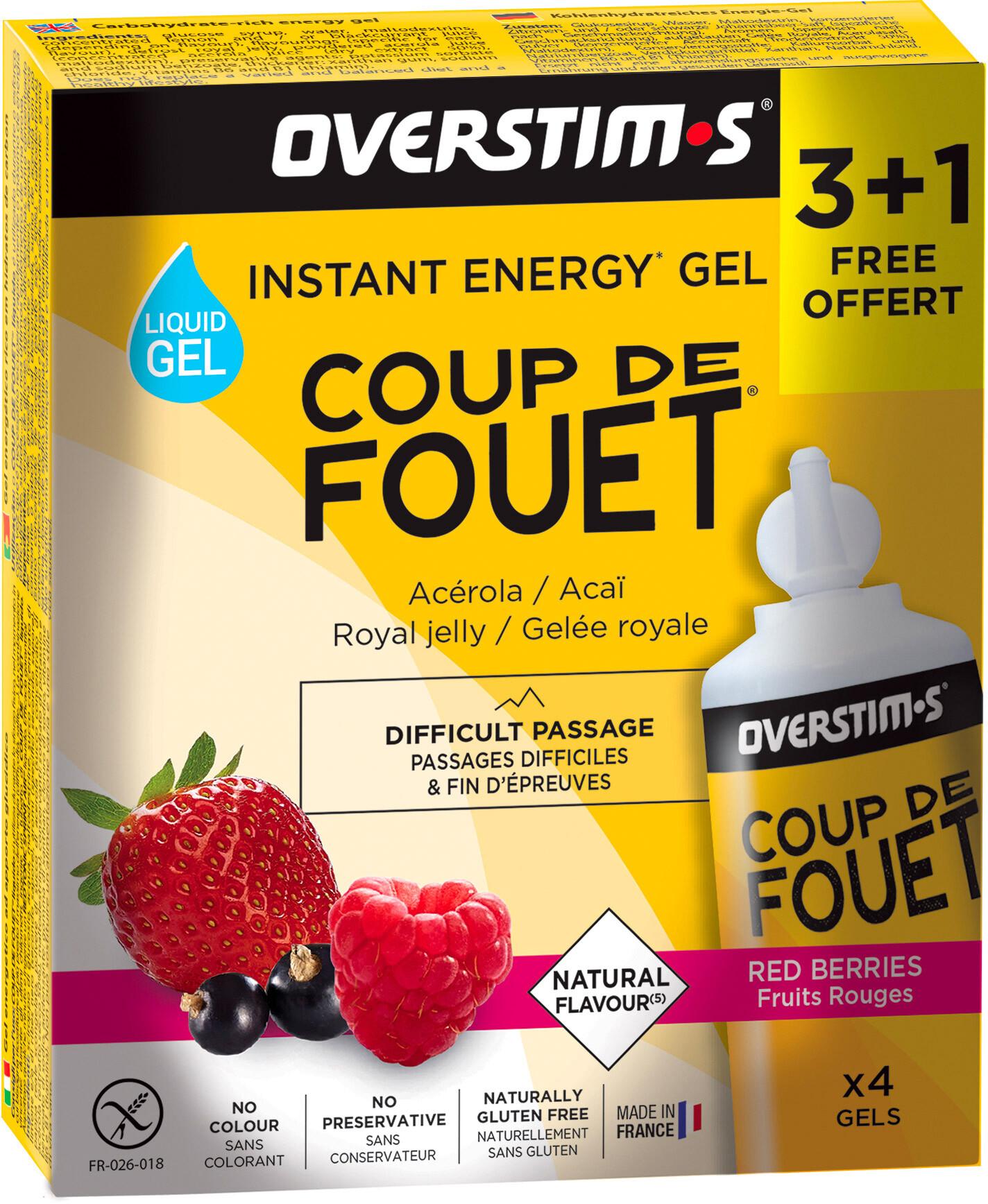 OVERSTIM.s Coup de Fouet Liquid Gel Box 3+1 Free 4x30g, Red Berries | Energi og kosttilskud > Tilbebør