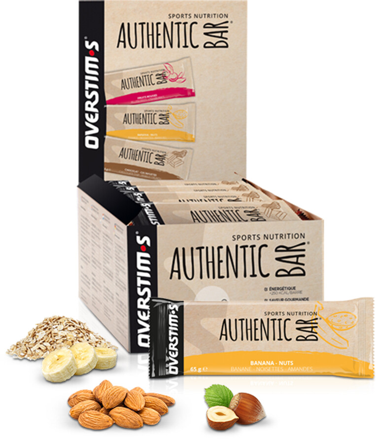 OVERSTIM.s Authentic Bar Box 30x65g, Banana Nuts (2019) | nuts_and_bolts_component