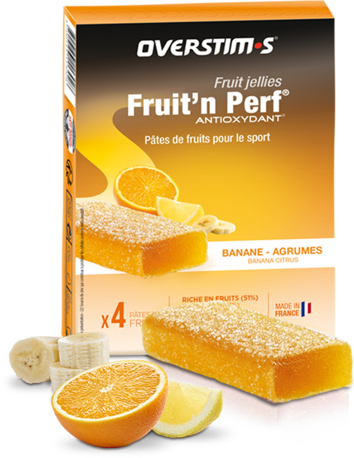 OVERSTIM.s Fruit'N Perf Antioxydant Bar Box 4x25g, Banana Agrums | Energi og kosttilskud > Tilbebør