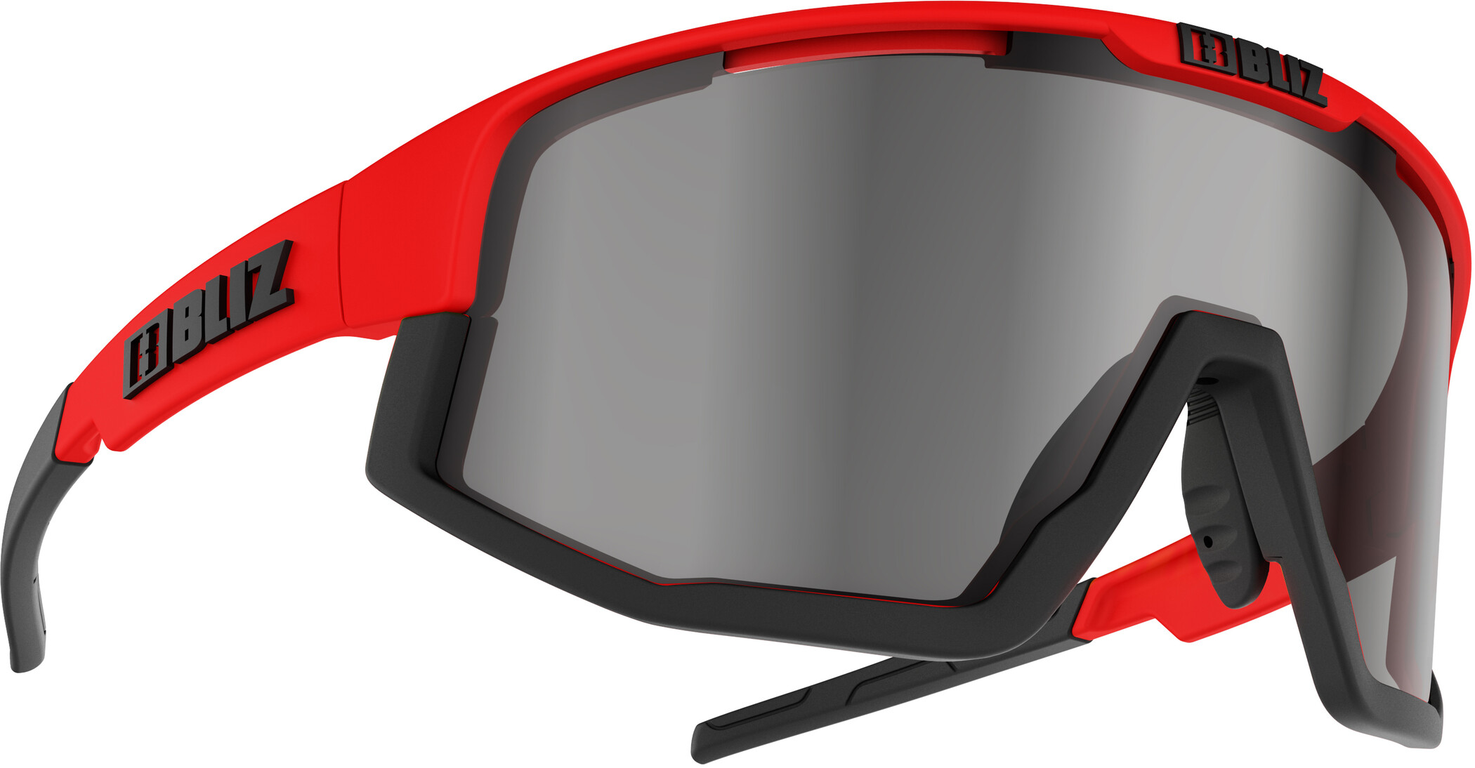 Bliz Fusion M12 Brille, shiny red/smoke with silver mirror | Briller