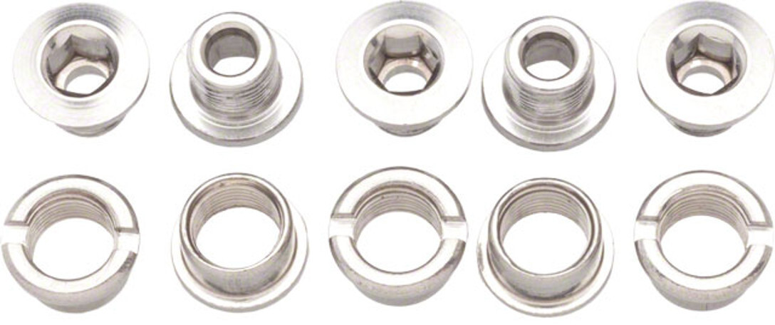 Problem Solvers Chainring Bolts 6mm Single-Speed 5 Pieces, silver (2019) | Chainring bolt