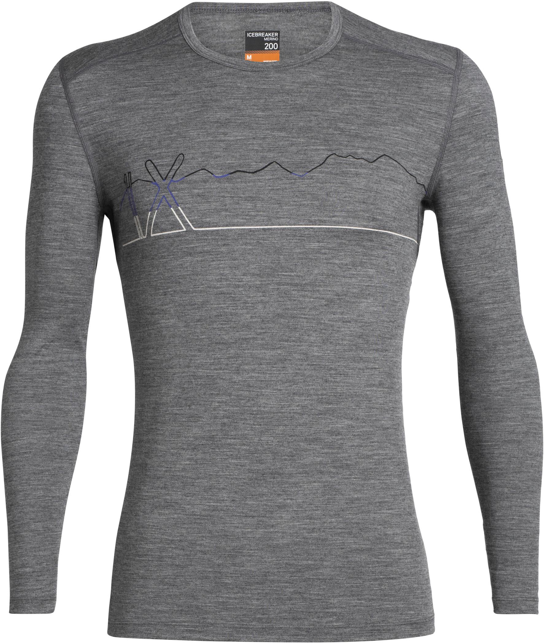 Icebreaker 200 Oasis Single Line Ski Langærmet T-shirt Herrer, gritstone heather (2019) | Base layers