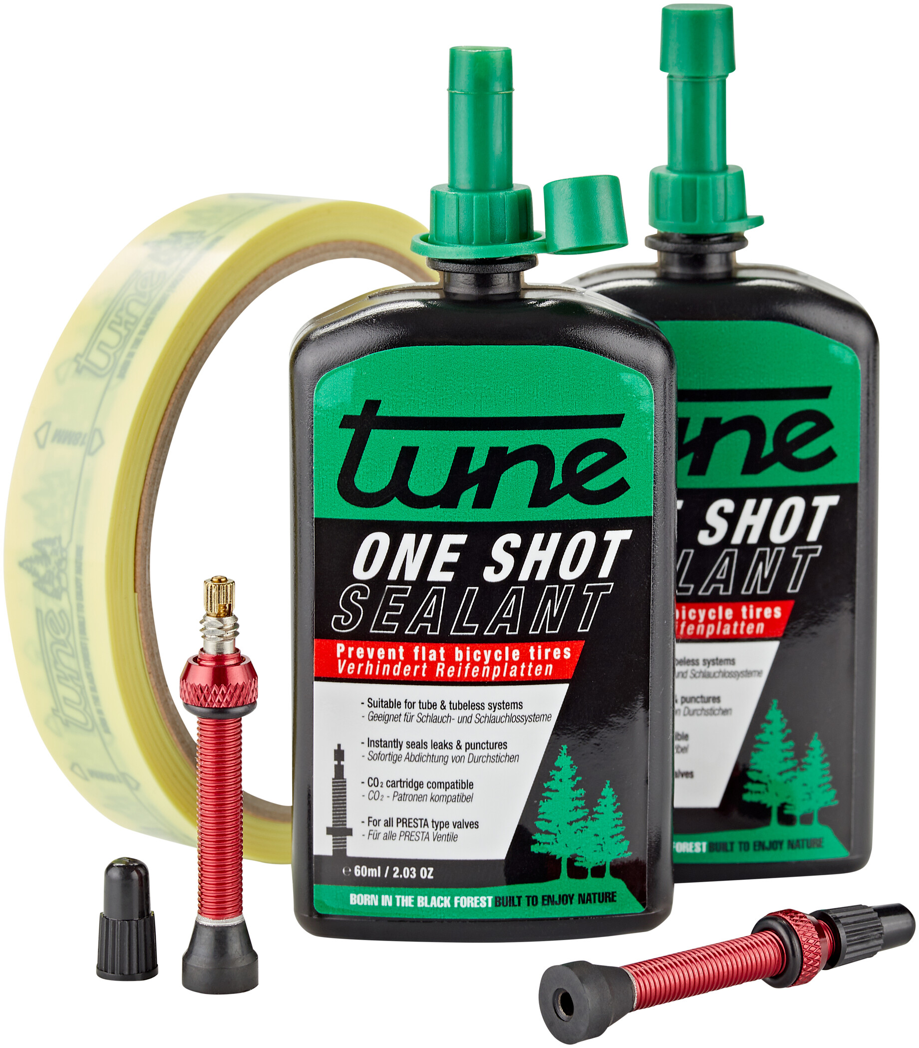 Tune One Shot Tubeless Kit Road 60ml incl. 20mm rød fælgtape (2020) | Rim tape