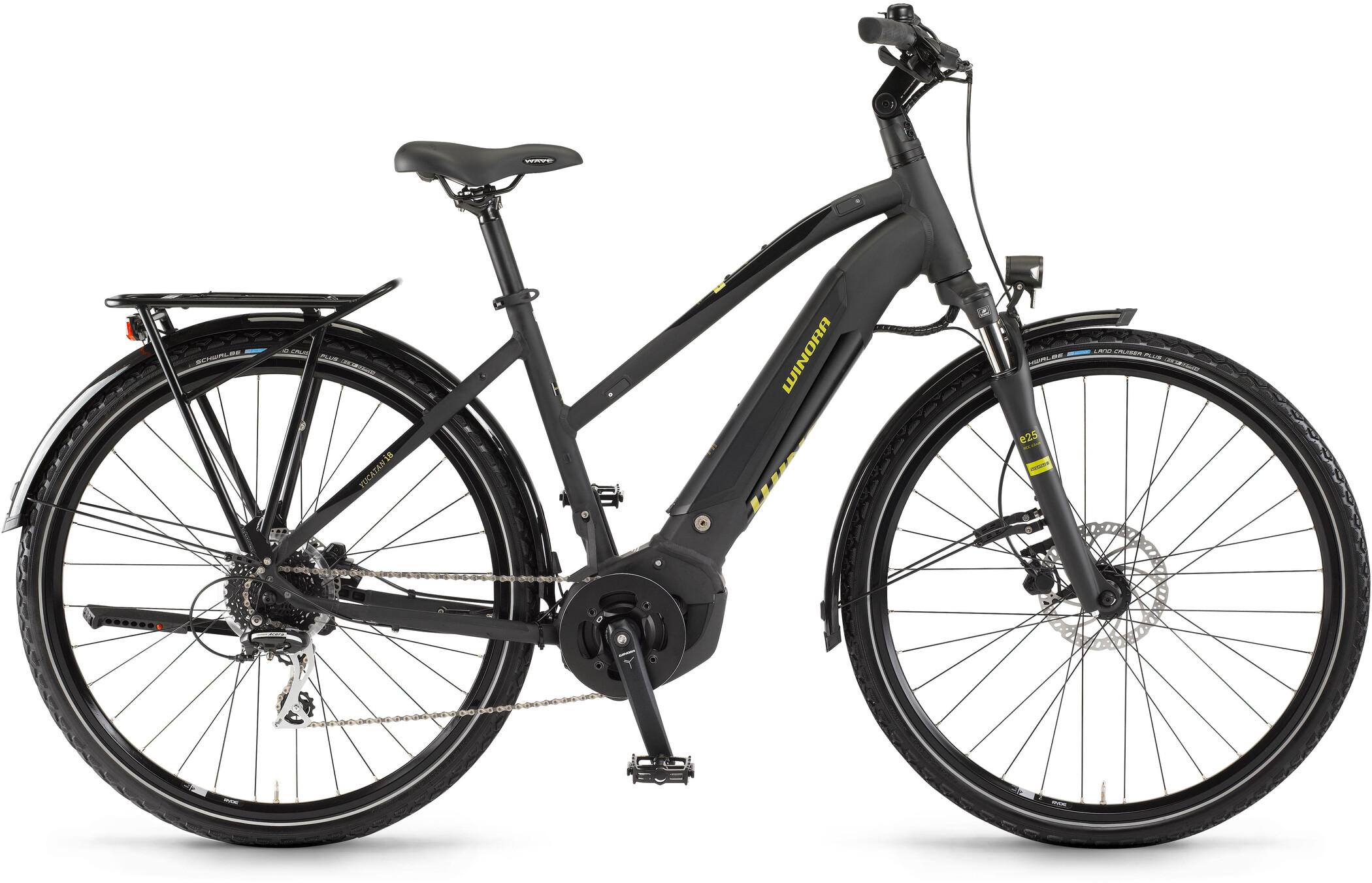 Winora Yucatan i8 Damer, black matte/black gloss (2020)   City-cykler