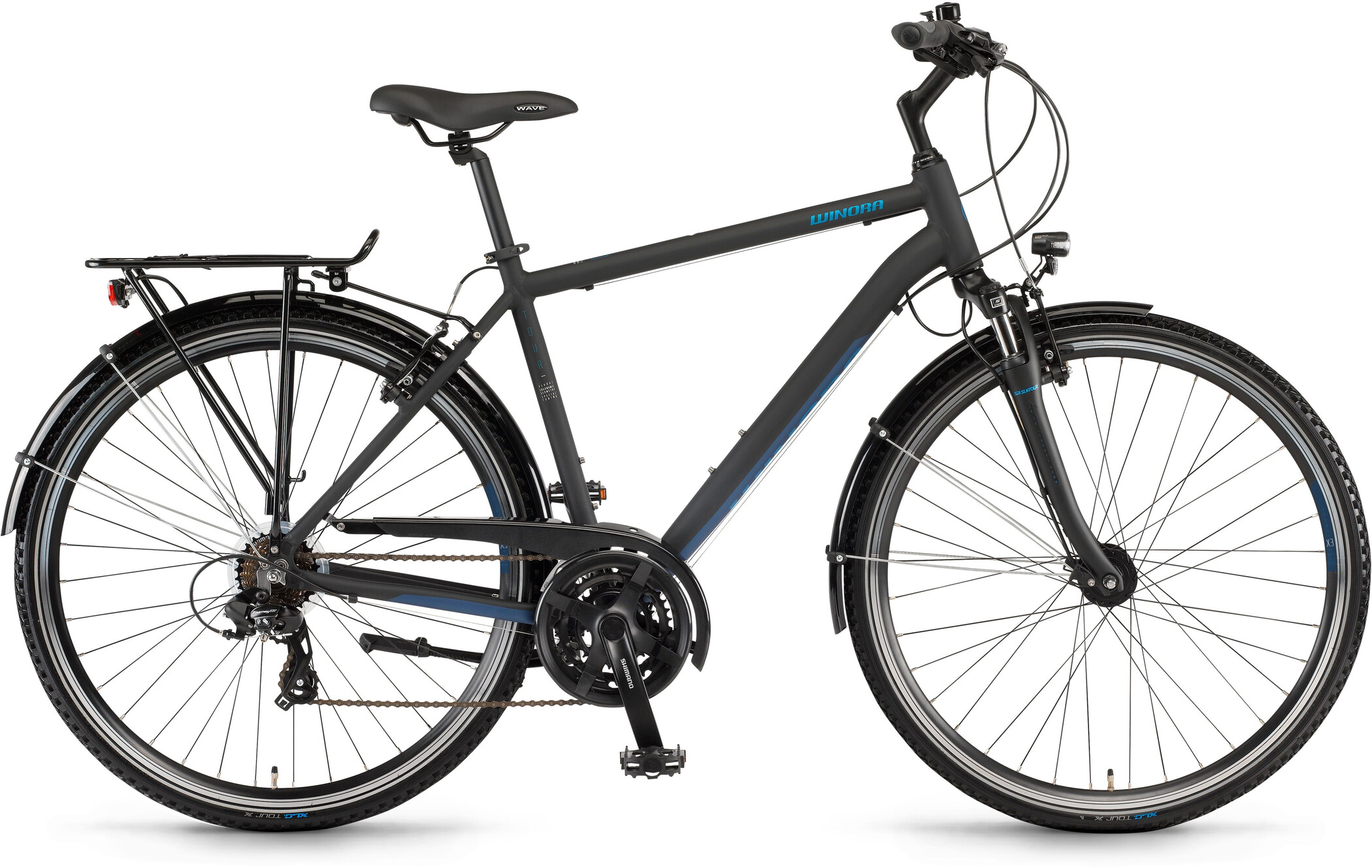 Winora Domingo 21 Herrer, black/blue matte (2020)   City-cykler