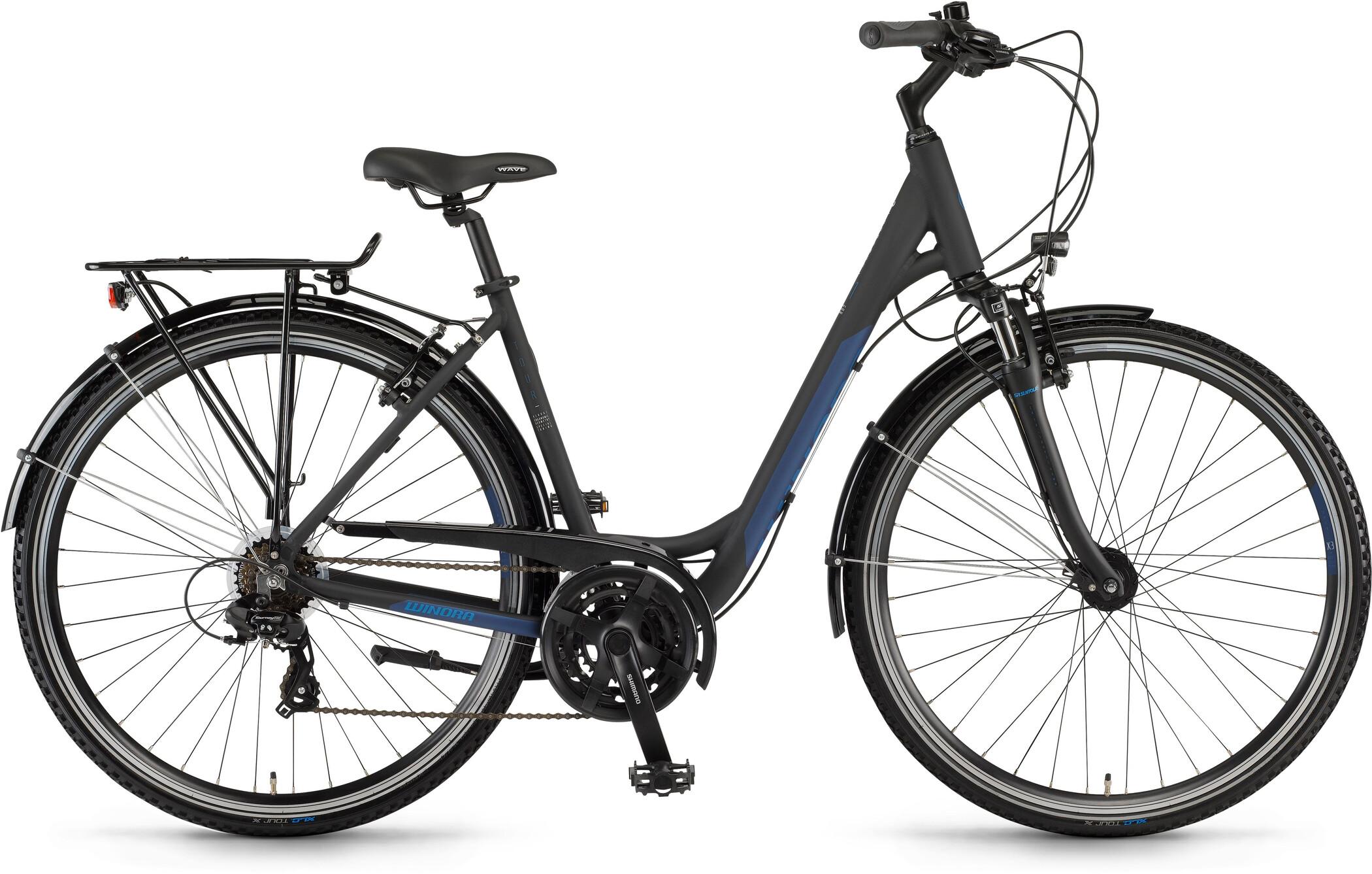 Winora Domingo 21 Wave, black/blue matte (2020)   City-cykler
