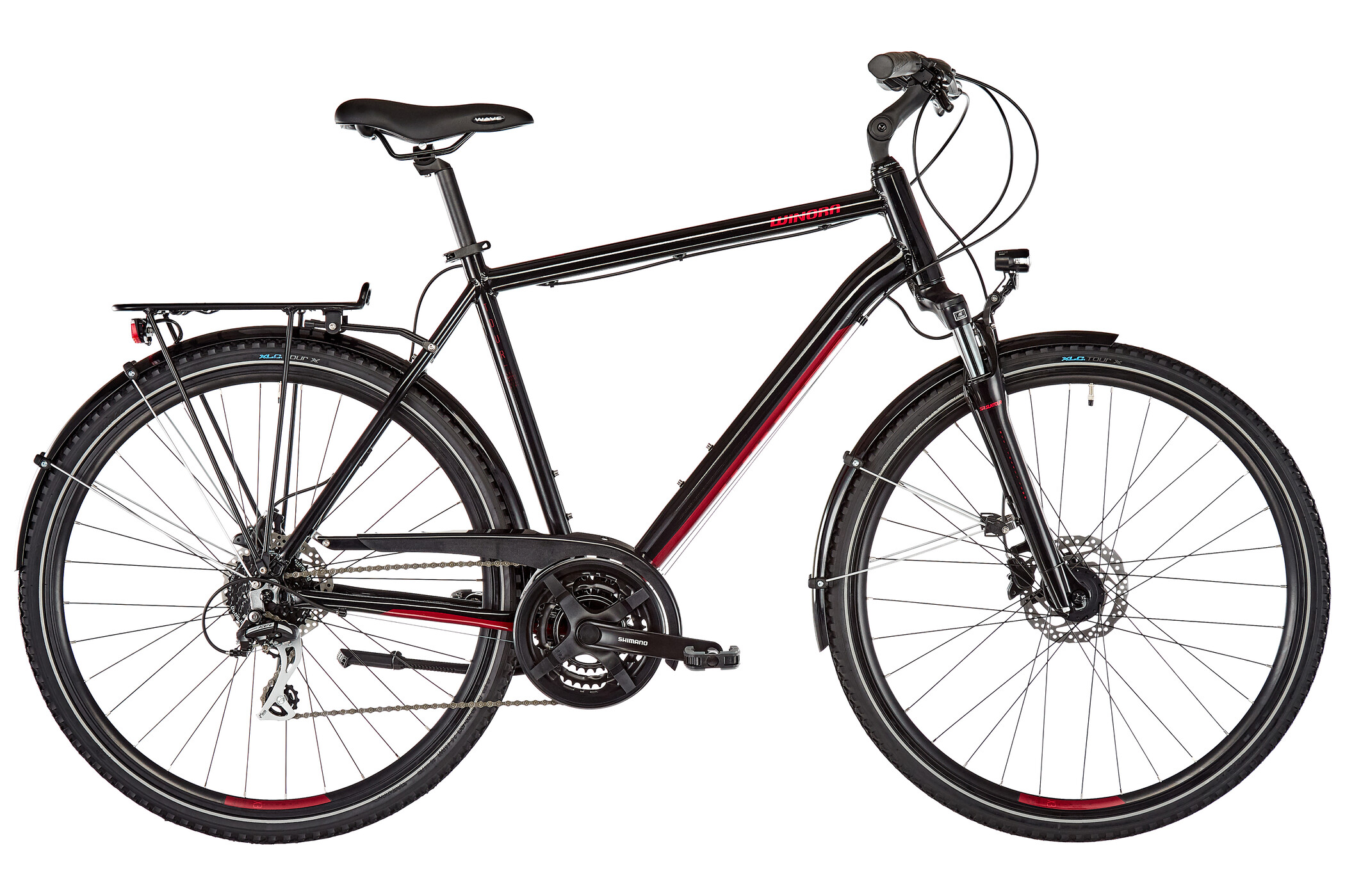 Winora Domingo 24 Disc Herrer, black/translucent red (2020)   City-cykler