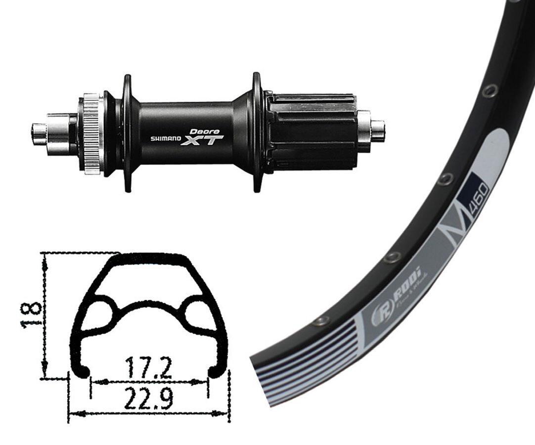 Rodi M460 Baghjul HR, 26 x 1,9, 32L, Disc, med Deore XT Centerlock, black (2019) | Rear wheel