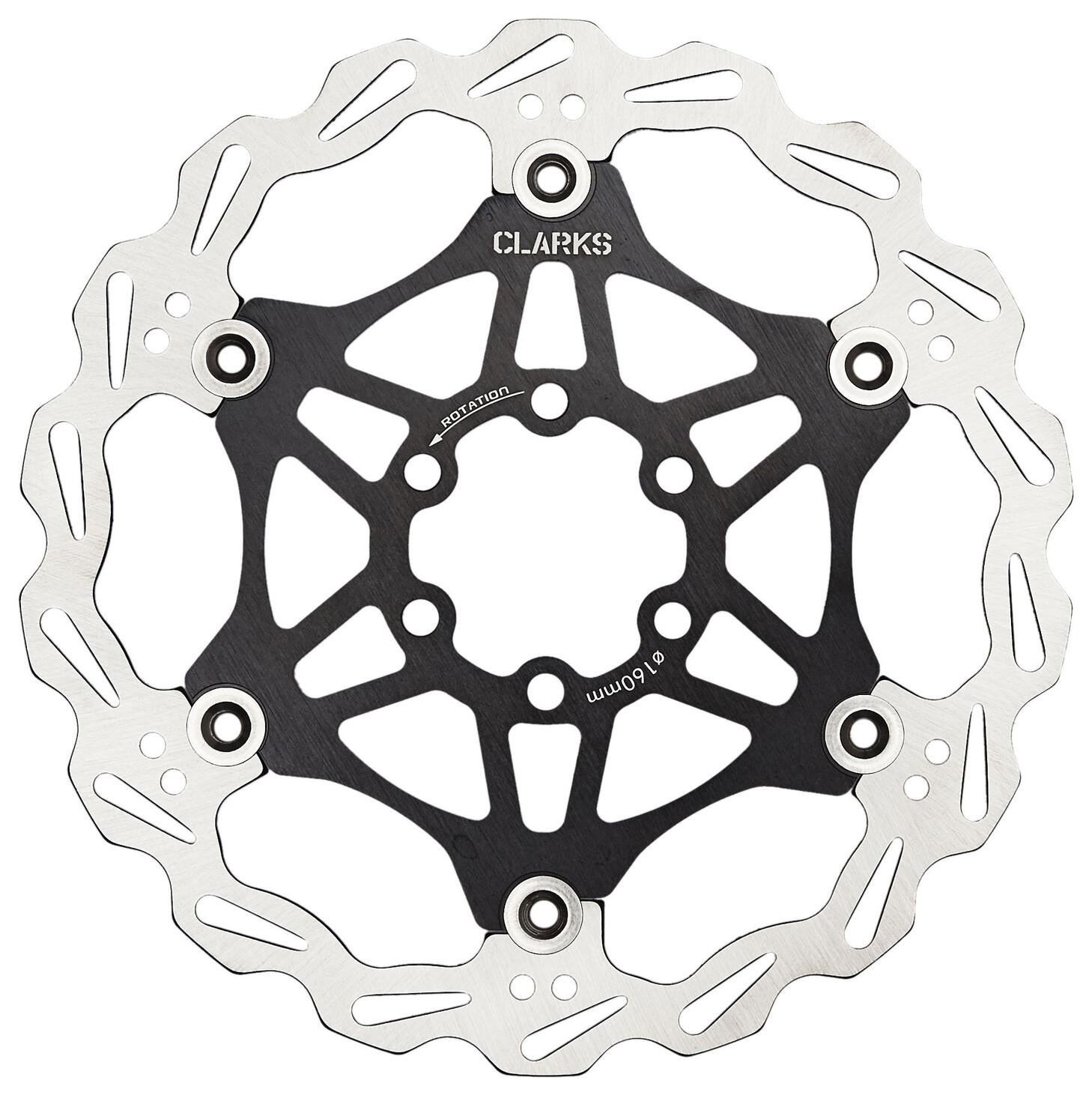 Clarks Lightweight Disc-Rotor 6-hul, black   Bremseskiver og -klodser