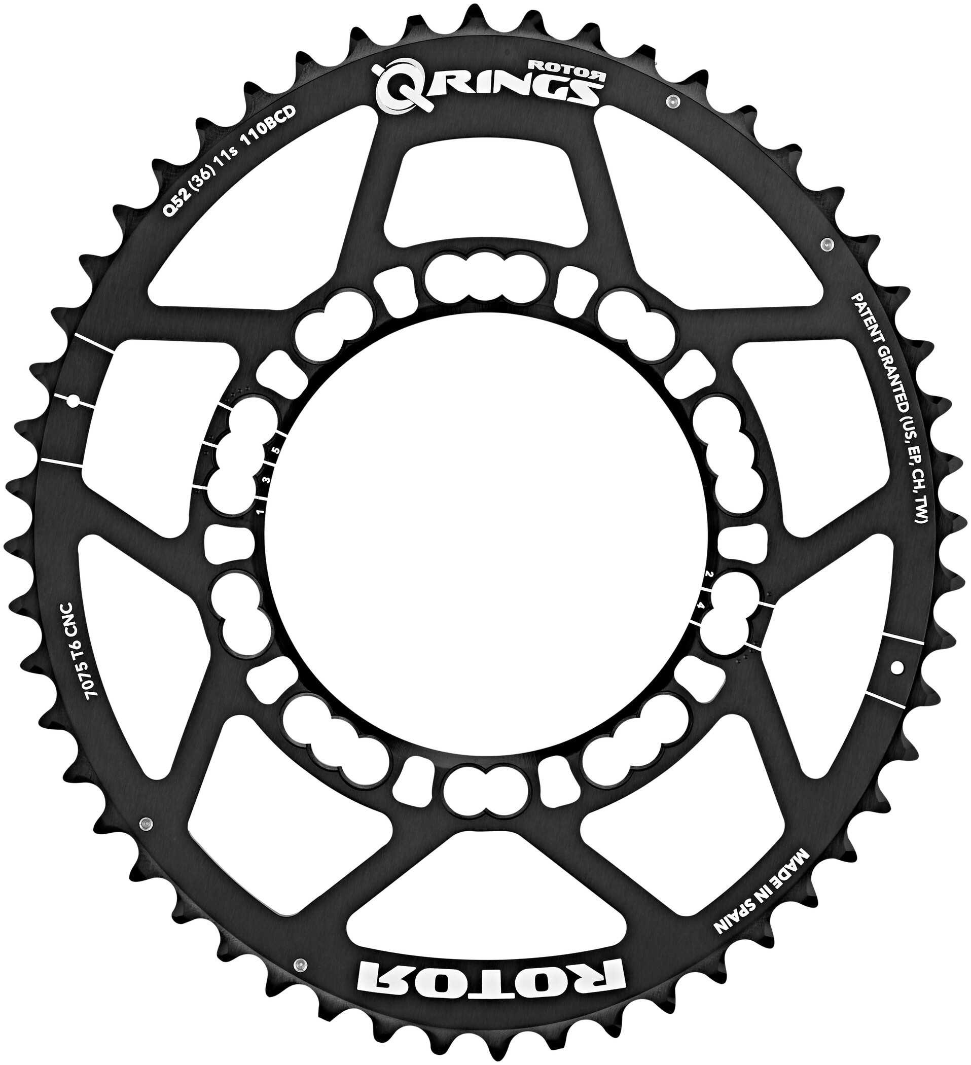 Rotor Q-Ring Road Klinge 110mm 5-arm udvendig, black (2019) | chainrings_component
