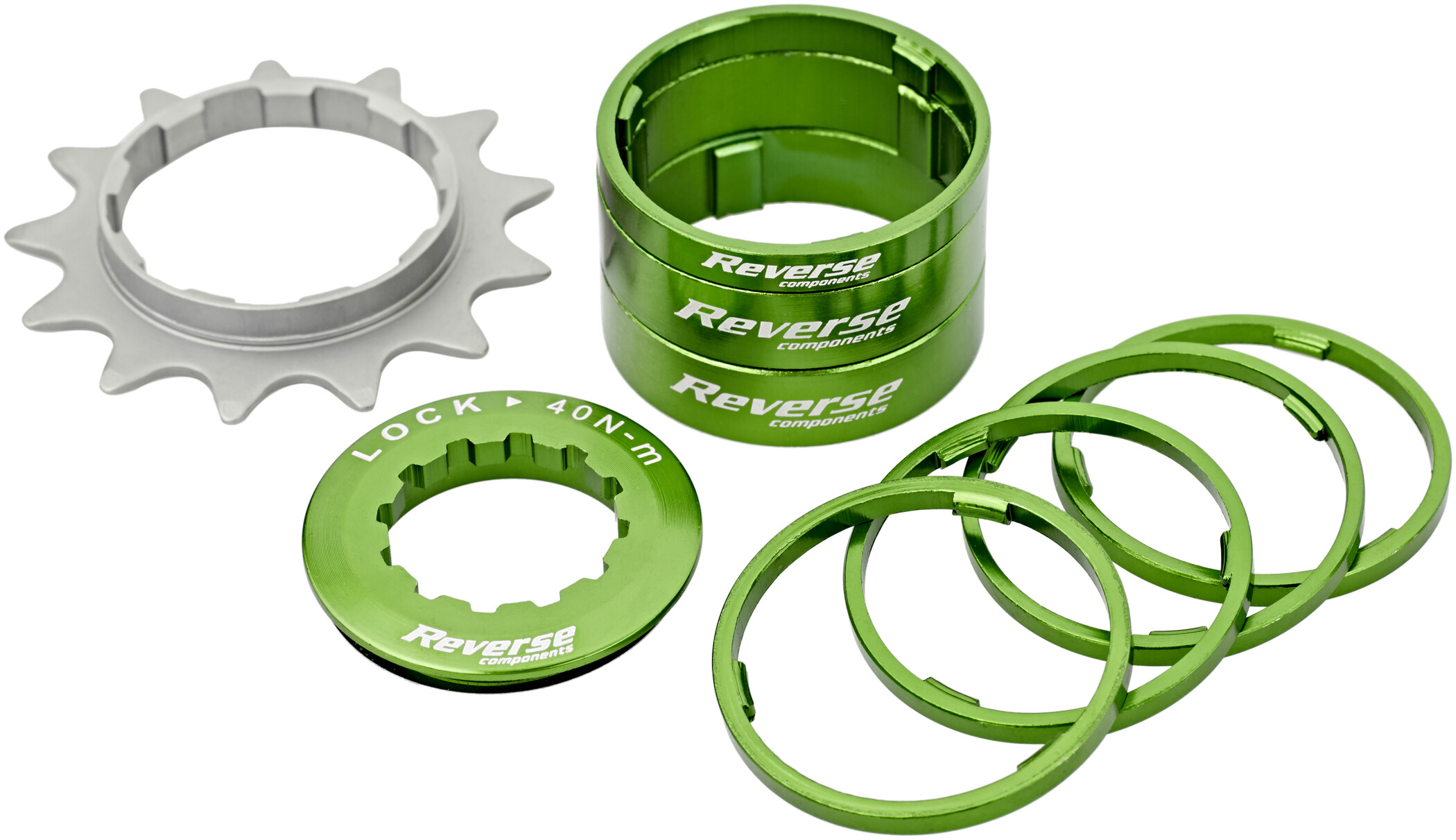 Reverse Single Speed Kit, green (2020) | Frikranse og tandhjul