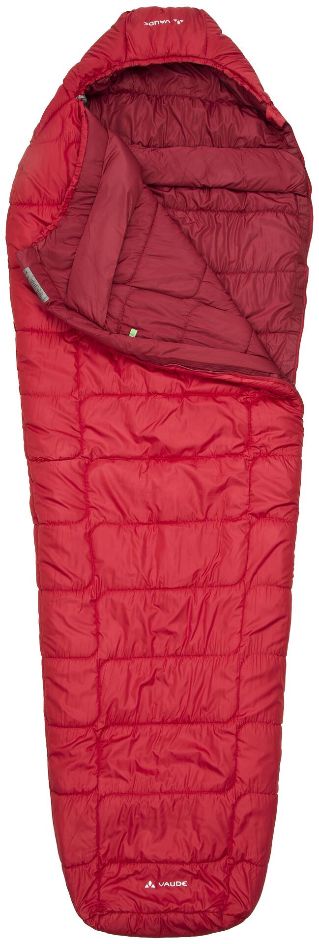Dark Red Vaude Sac de couchage momie Sioux 800 Syn Rouge gauche - 220 x 80 x 55 cm