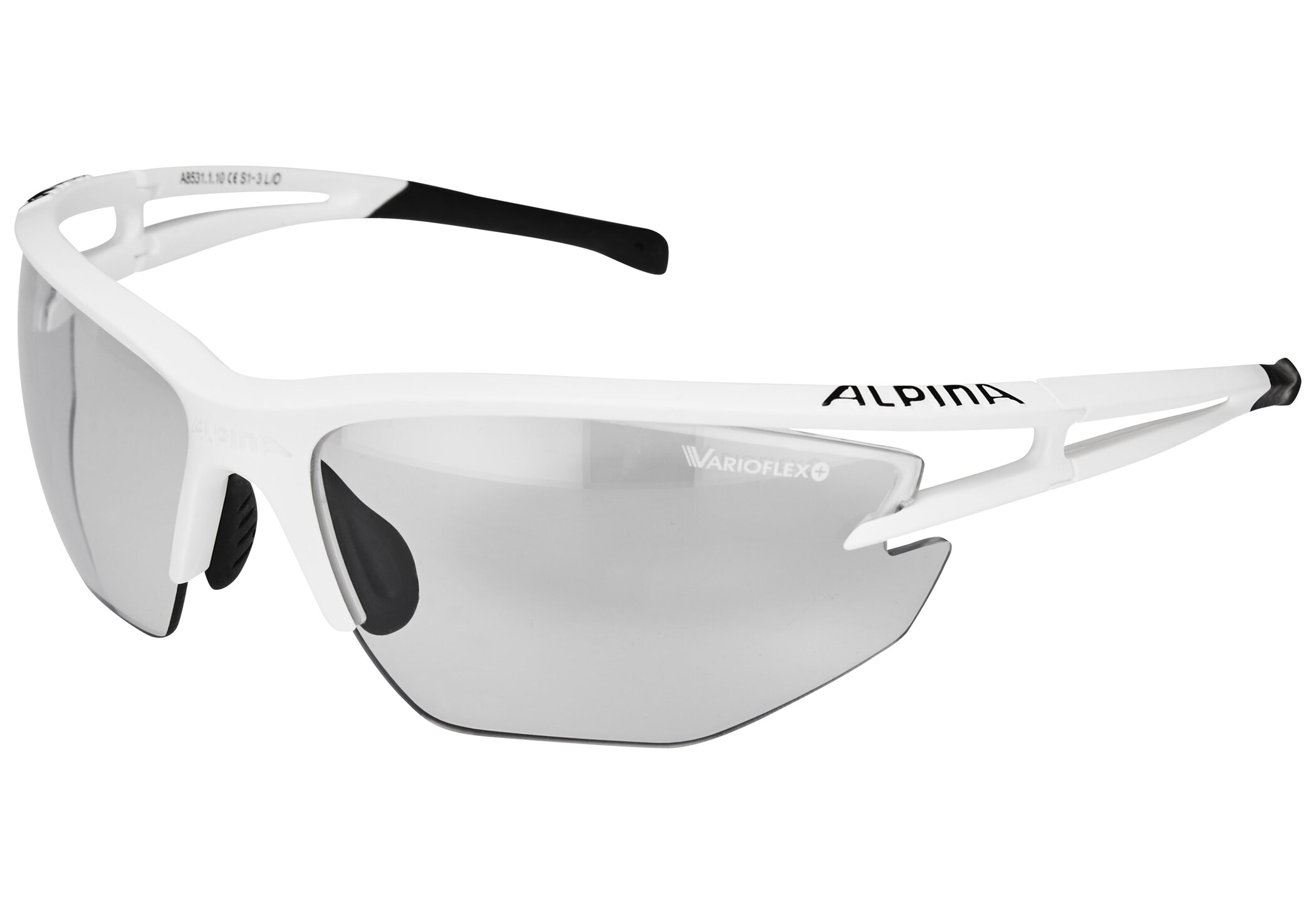 Alpina Eye-5 HR VL+ Cykelbriller, white matt-black/black (2019) | Glasses