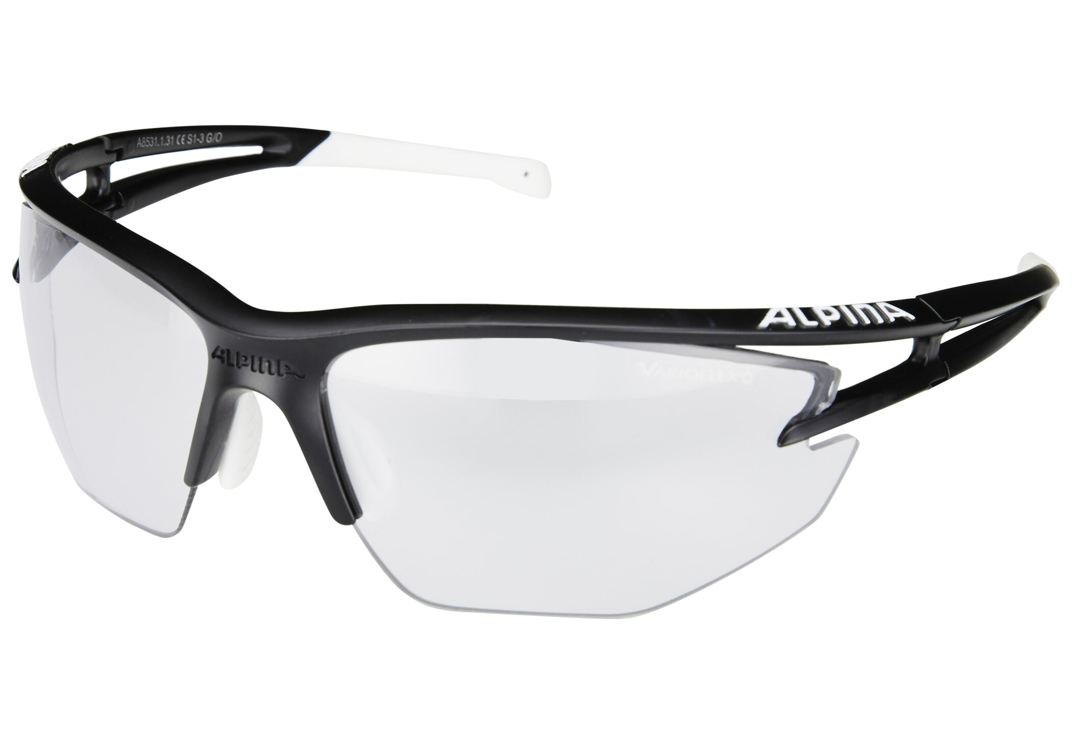 Alpina Eye-5 HR VL+ Cykelbriller, black matt-white/black (2019) | Glasses