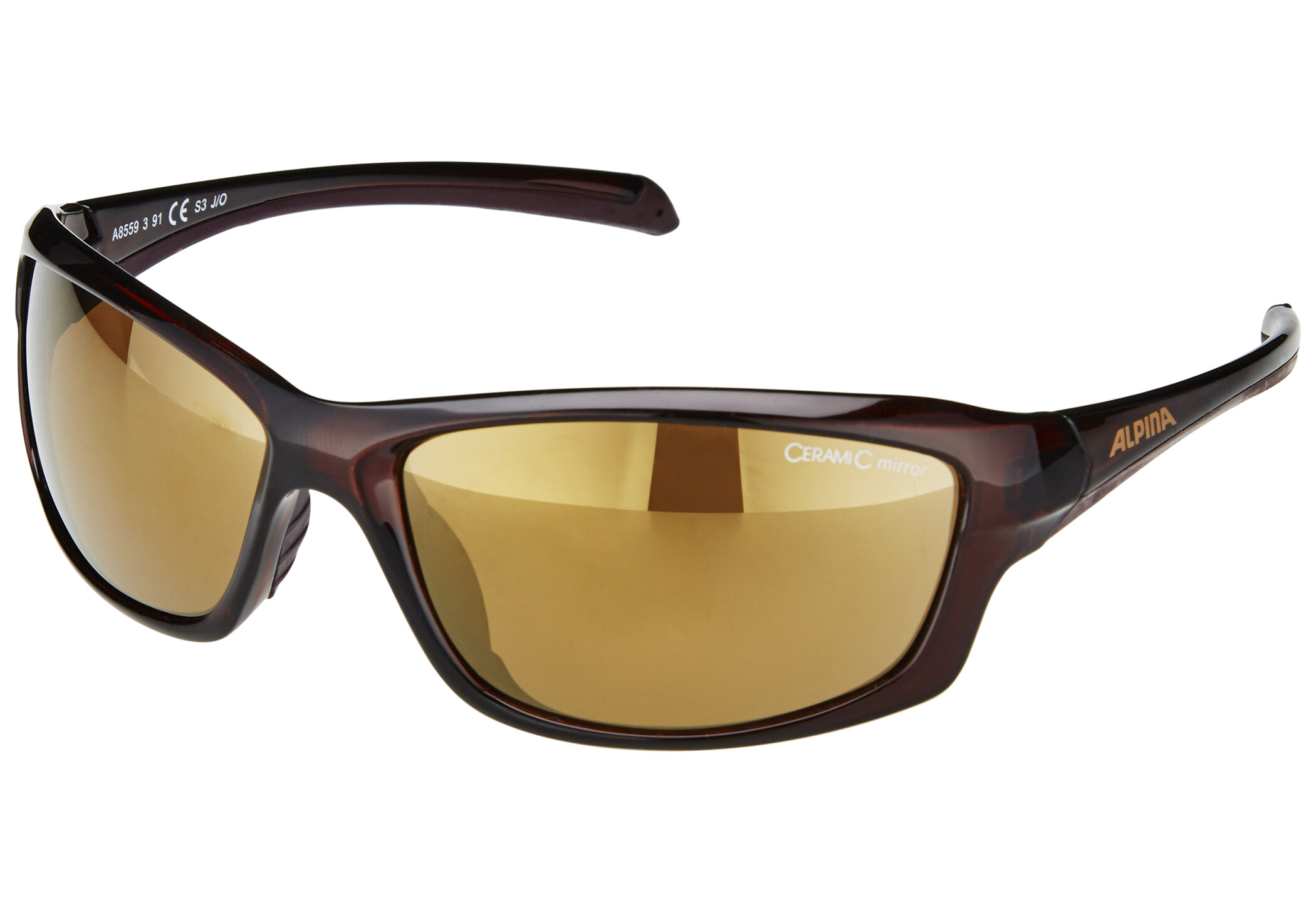 Alpina Dyfer Brille, brown transparent/gold mirror (2019) | Glasses