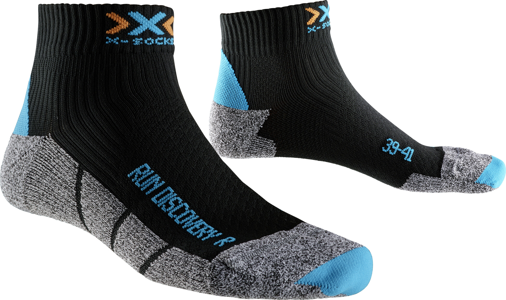 X-Socks Run Discovery New Strømper Damer, black/turquoise/grey mouliné | Socks