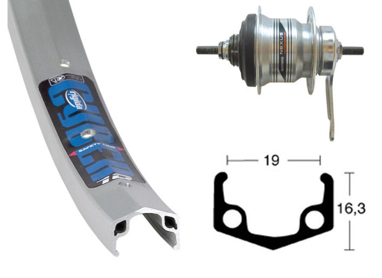 Ryde Cyber 10 Baghjul 26x1.75 Shimano 7 gear 36L, silver (2019)   Wheelset
