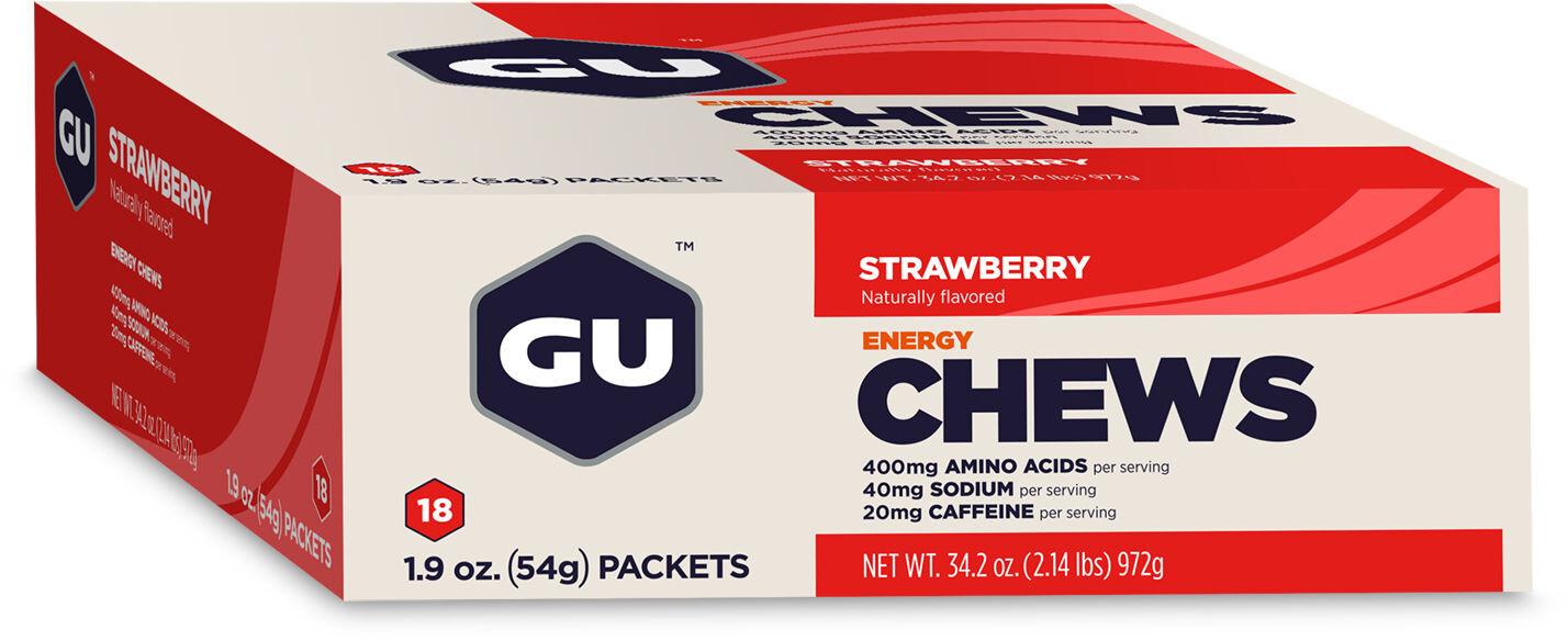 GU Energy Chews Box 18x54g, Strawberry with Caffeine | Shots og Chews