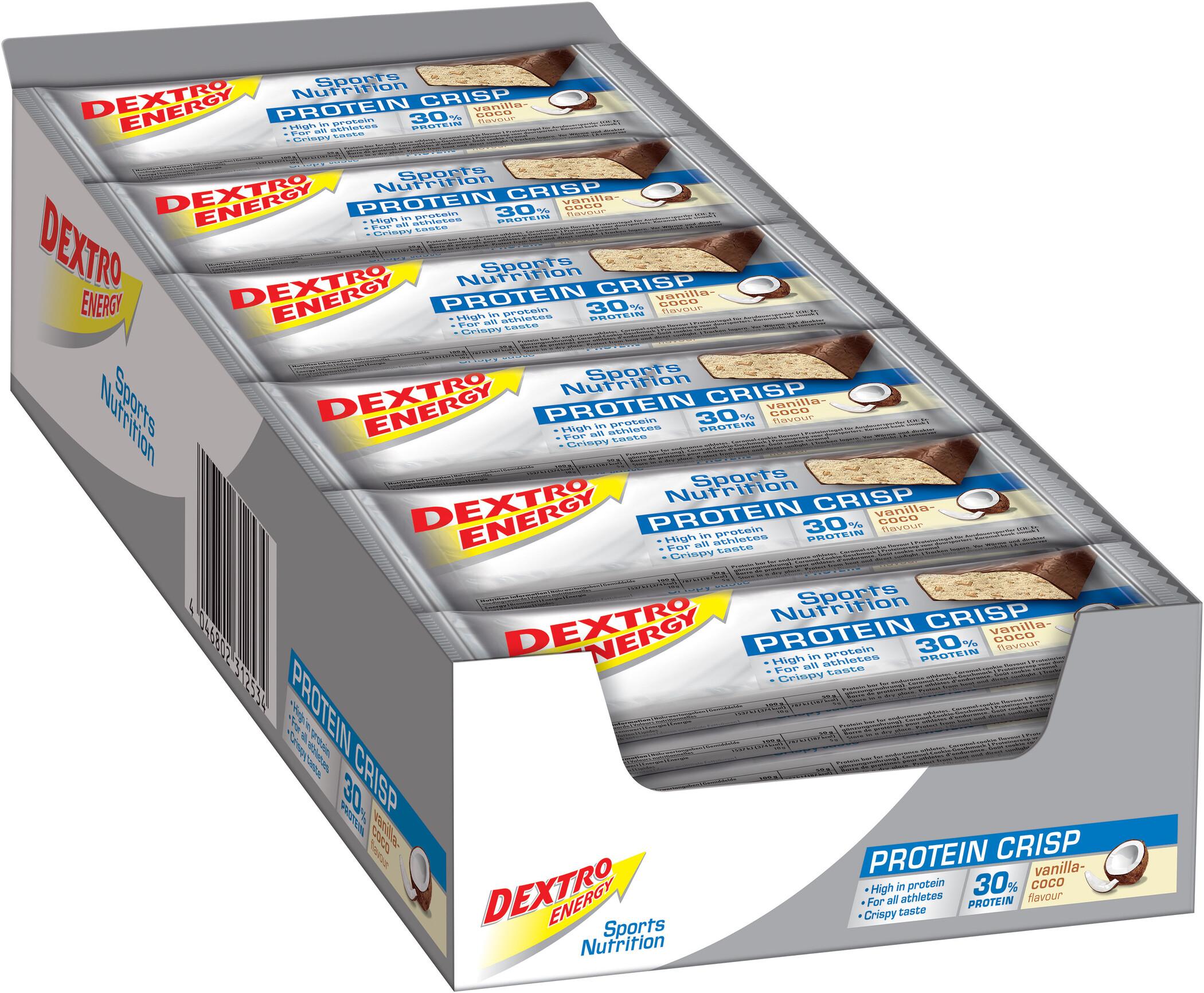 Dextro Energy Protein Crisp Box 24x50g, Vanilla-Coconut (2019) | Protein bar and powder