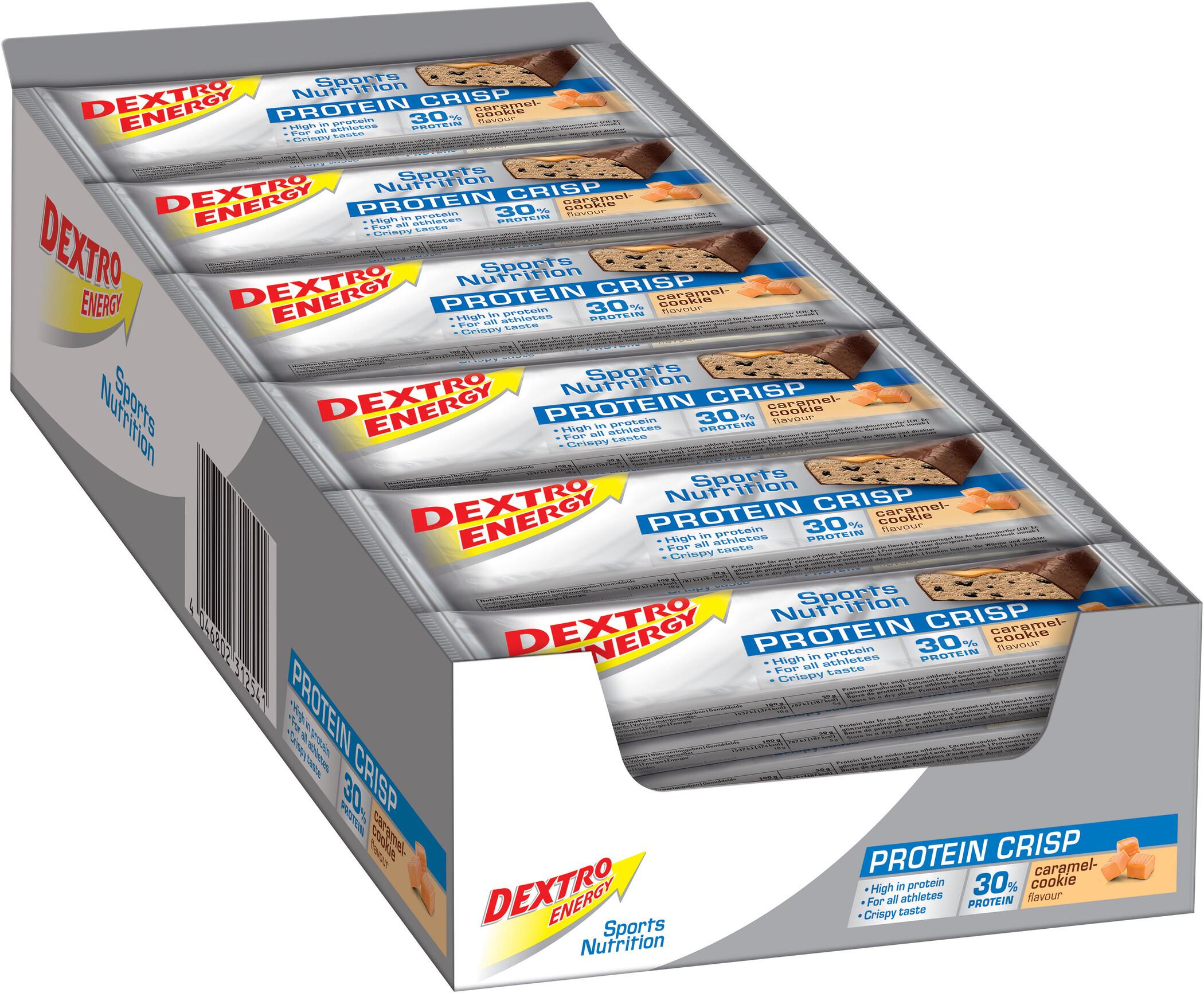 Dextro Energy Protein Crisp Box 24x50g, Caramel-Cookies (2019) | Protein bar and powder