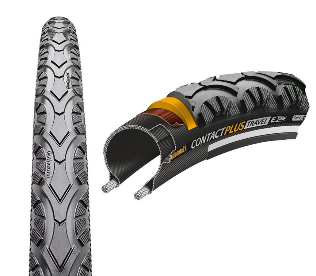 "Continental Contact Plus Travel Wired-on Tire 28"" E-25 Reflex, black (2019) 