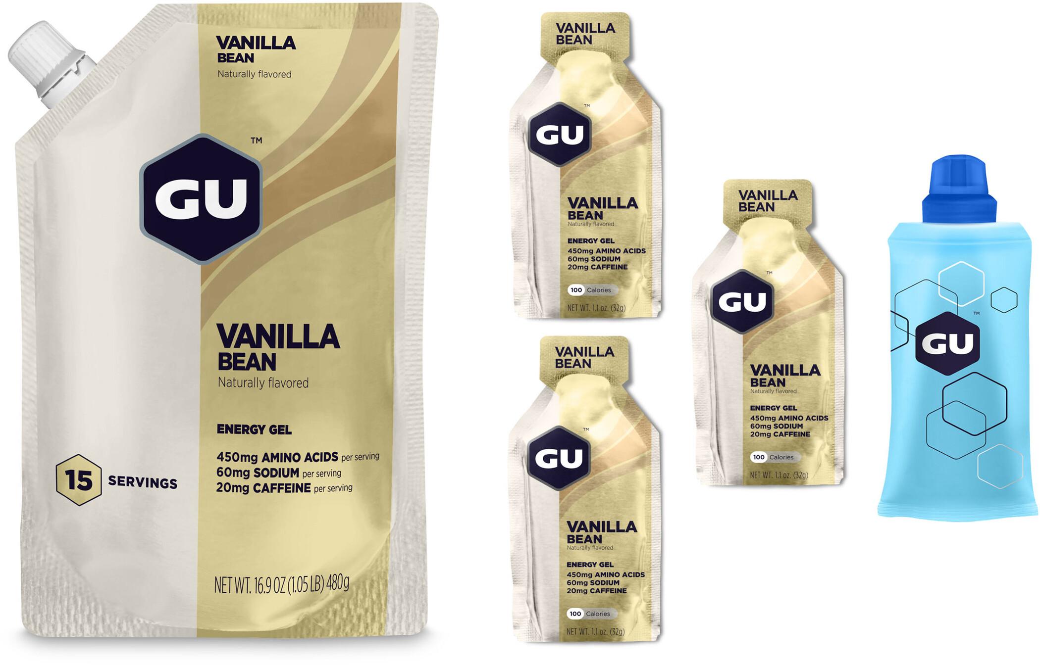GU Energy Gel Bundle Bulk Pack 480g + Gel 3x32g + Flask, Vanilla Bean   Energy gels