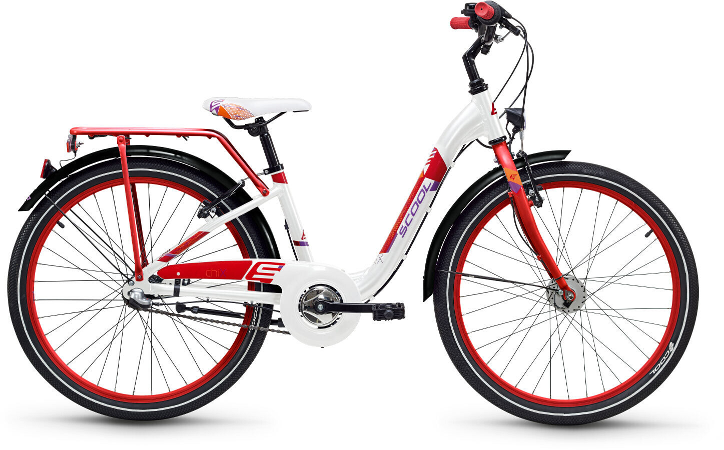 s'cool chiX 24 3-S alloy Kids, white/red (2019) | City