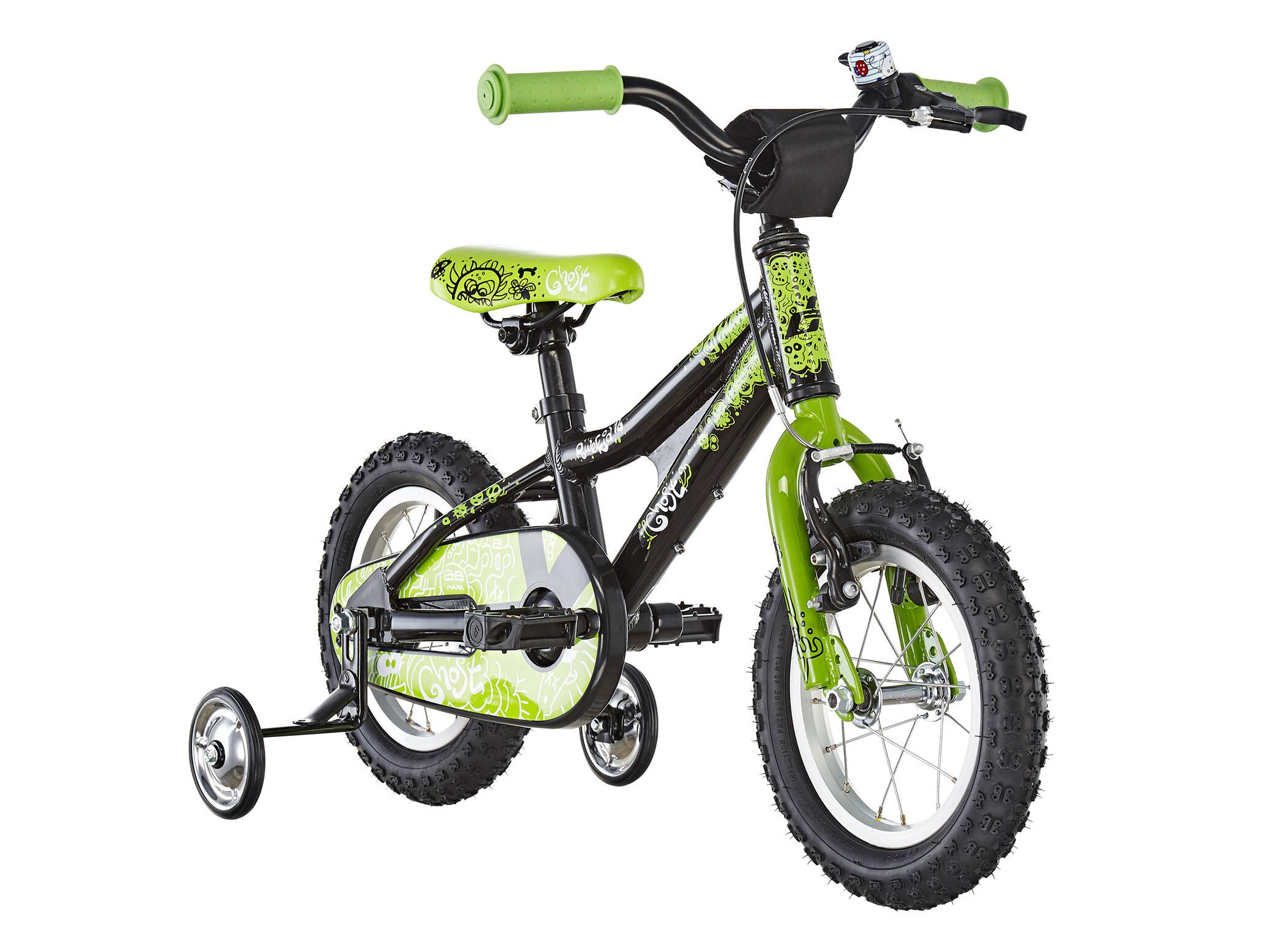 Ghost Powerkid AL 12 Børn, night black/riot green/star white | City-cykler