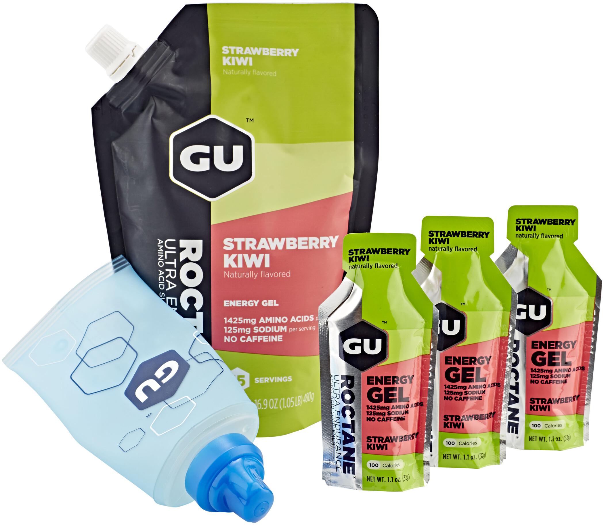 GU Energy Roctane Energy Gel Bundle Bulk Pack 480g + Gel 3x32g + Flask, Strawberry Kiwi | Energigels