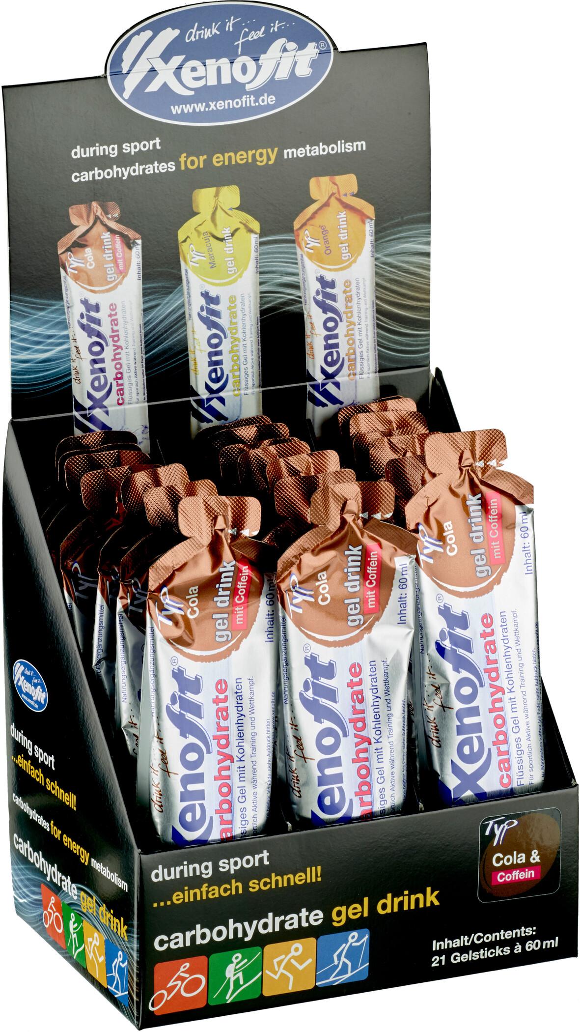 Xenofit Carbohydrate Hydro Gel Box 21x60ml, Cola with Caffein | Energigels