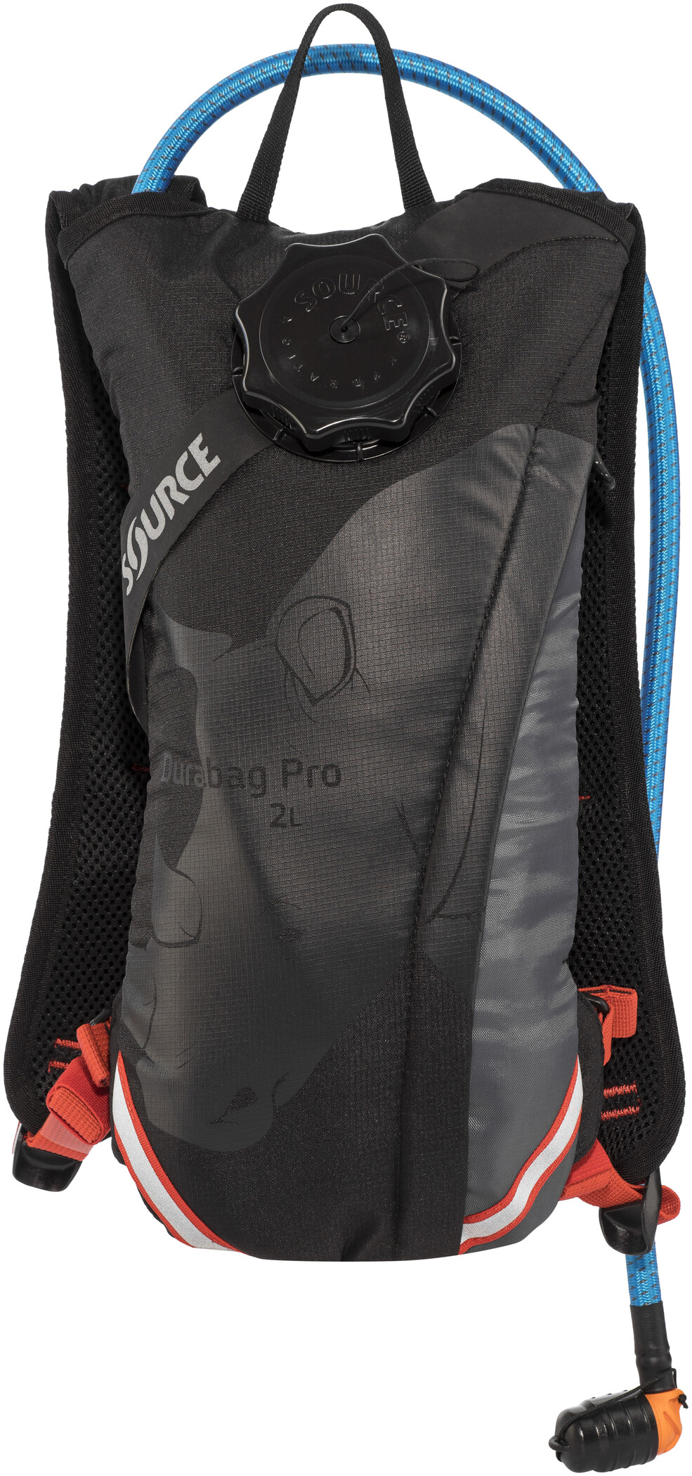 SOURCE Durabag Pro Hydration Pack 2L bottle, gray/black/fiesta (2019) | Drikkedunke