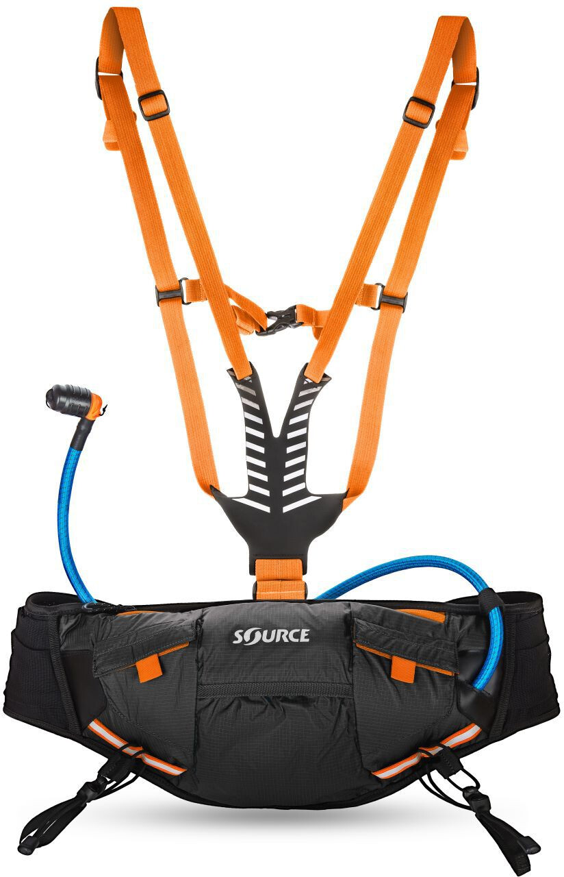 SOURCE Hipster Drinking Bottle Carrier 1,5L, black/orange (2019) | Drikkedunke
