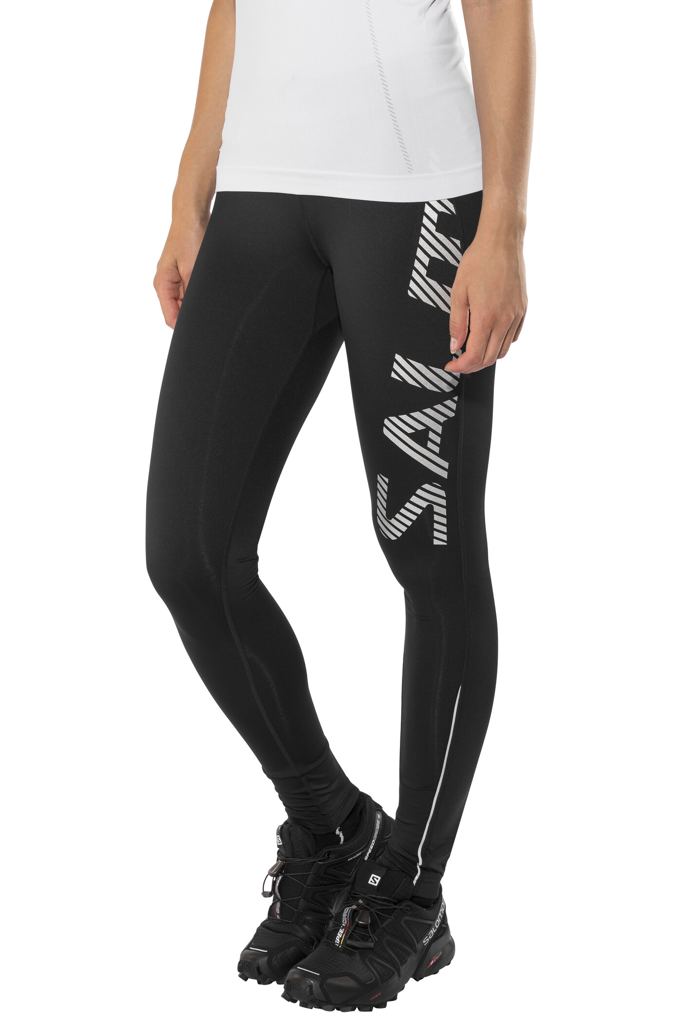 Salming Logo 2.0 Tights Damer, black/silver (2019) | Trousers