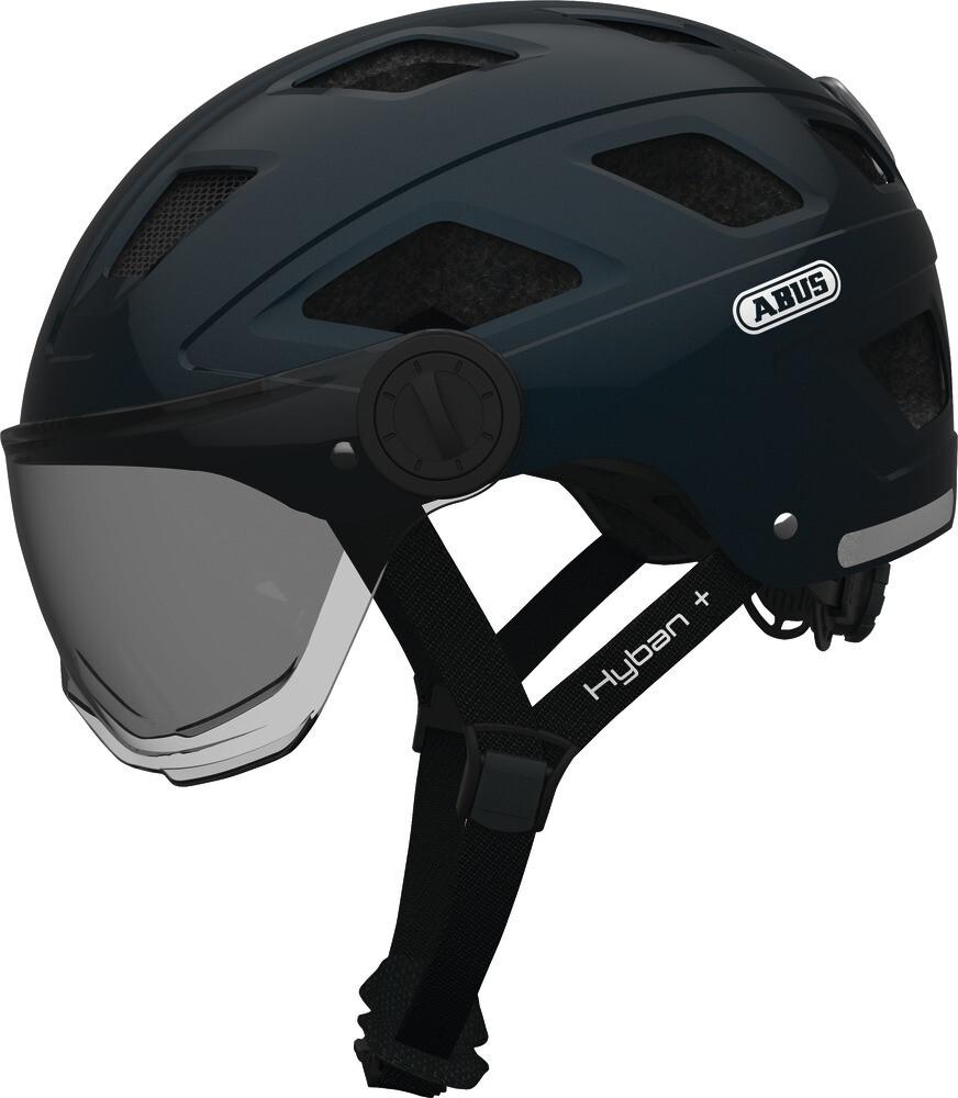 ABUS Hyban+ Cykelhjelm, white, smoke visor   Helmets