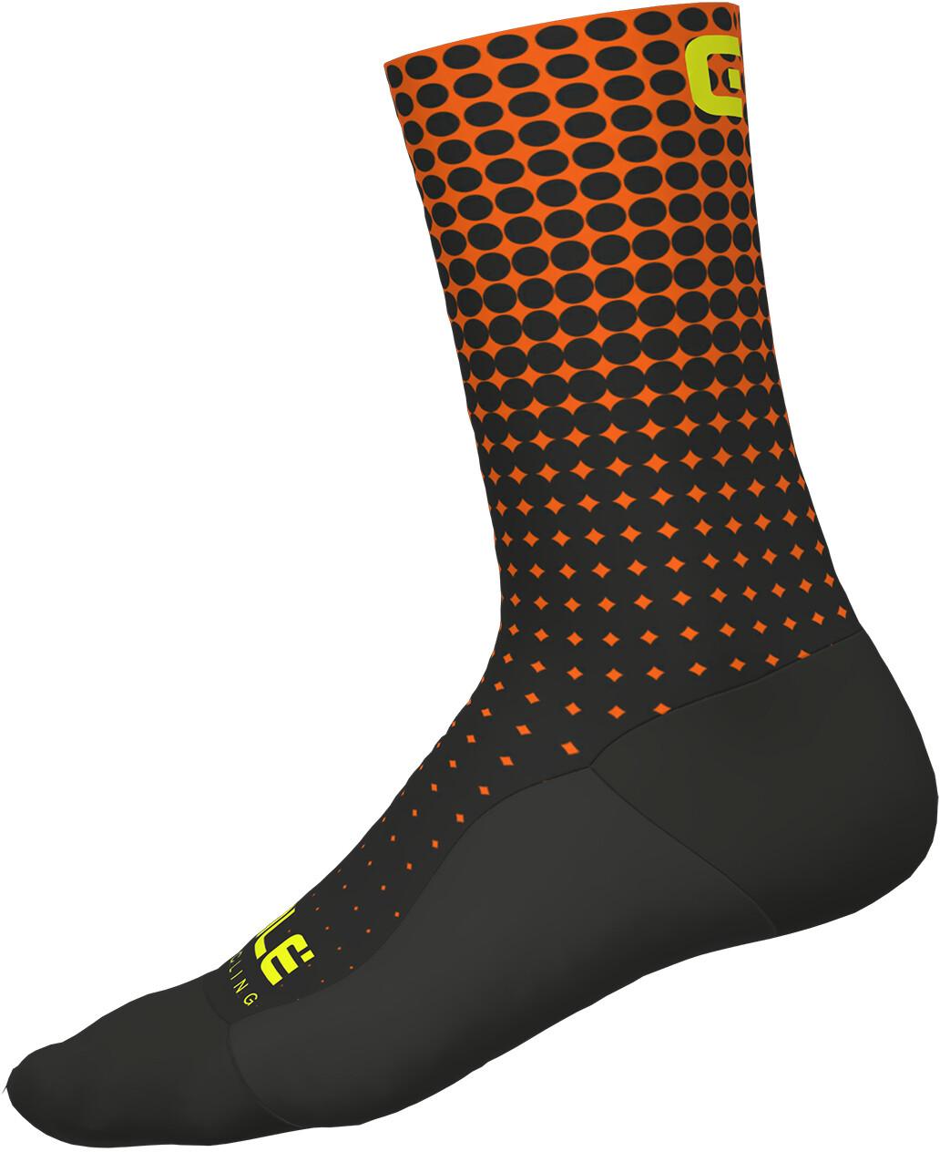Alé Cycling Dots Strømper, nero-arancio fluo/black-fluo orange (2019) | Socks