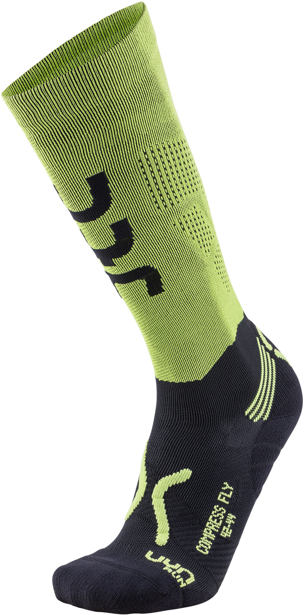 UYN Run Compression Fly Strømper Herrer, acid green/black (2019) | Kompressionstøj