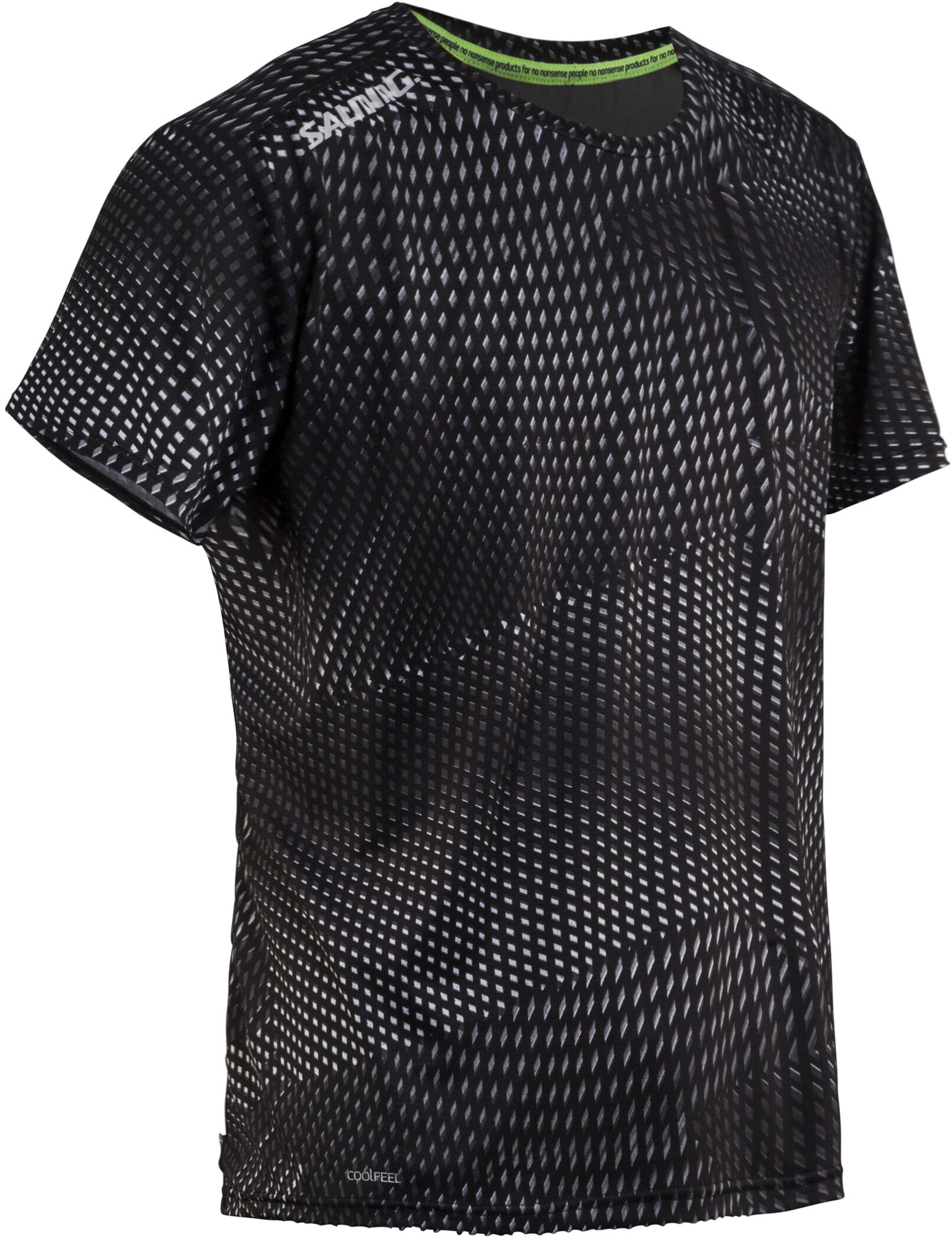 Salming Breeze T-shirt Herrer, black aop/black melange (2019) | Jerseys
