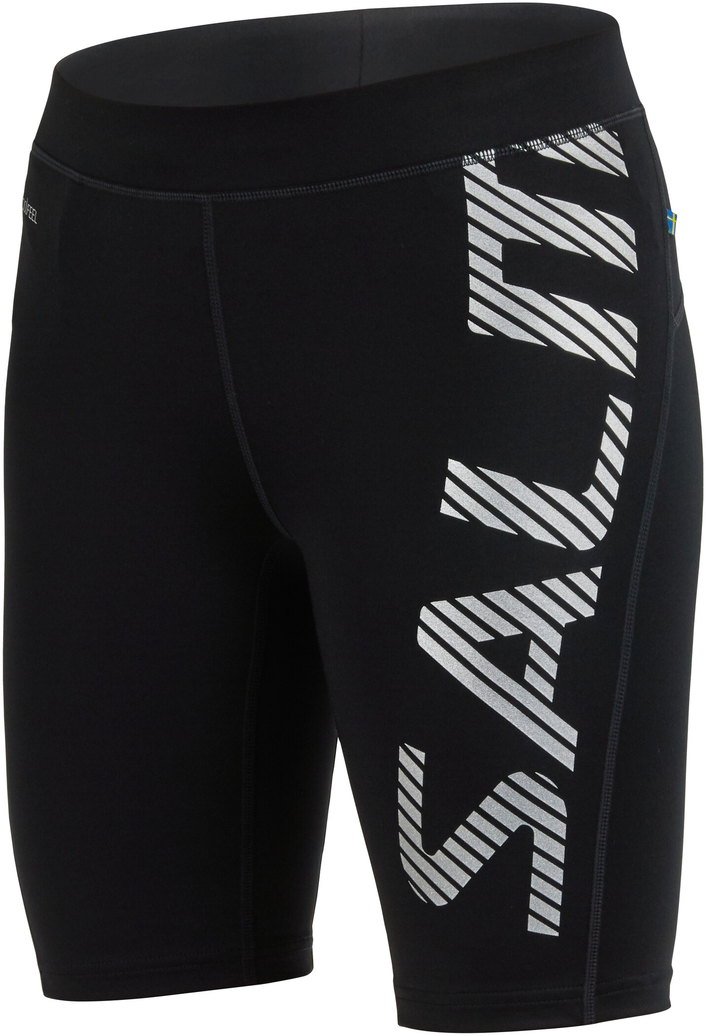 Salming Power Logo Tights Damer, black/silver reflective (2019) | Trousers