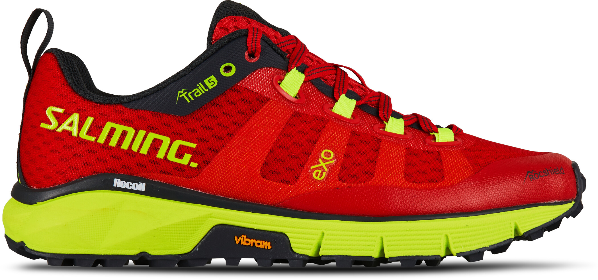 Salming Trail 5 Sko Damer, poppy red/safety yellow (2019) | Shoes and overlays