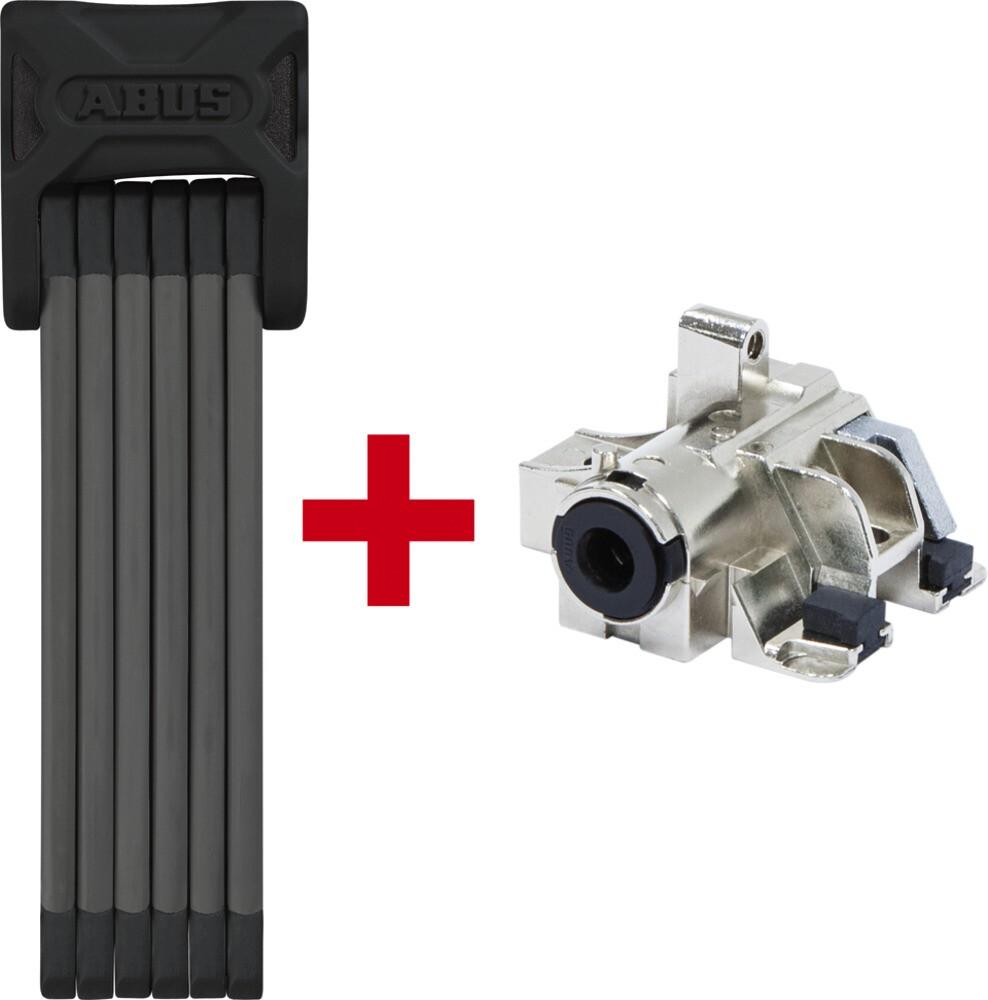 ABUS Bordo 6015 + Bosch Plus GT Cykellås 120 cm til bagagebærerbatteri SH 6000/120 (2019) | Combo Lock