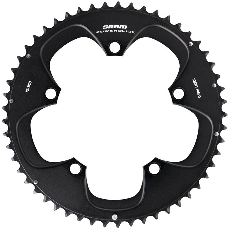 SRAM RED TT Klinge 130 mm aluminium 10-speed til 54-42T uden Hidden Bolt, black (2019) | chainrings_component