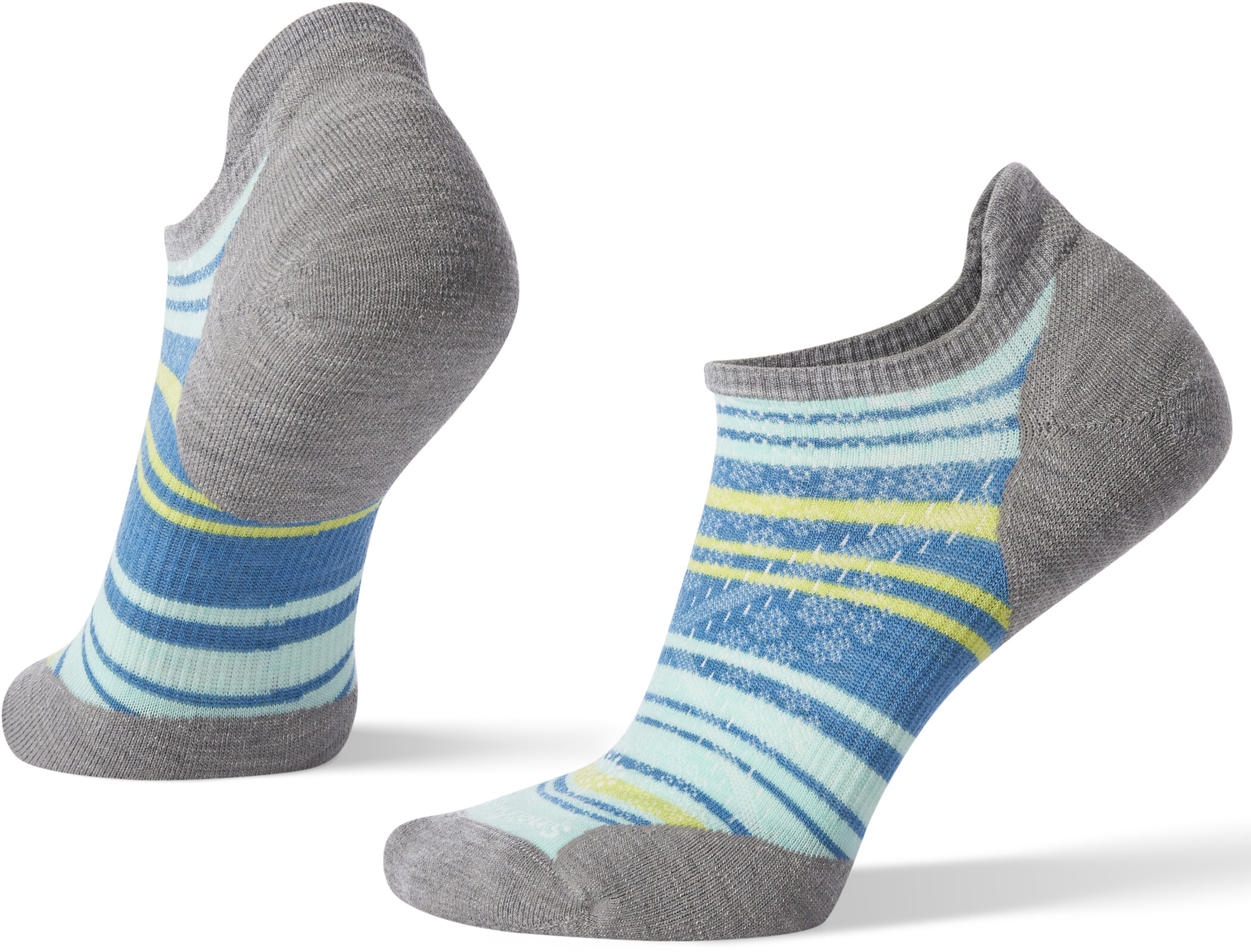 Smartwool PhD Run Light Elite Striped Micro Strømper Damer, light gray/mint (2019) | Socks