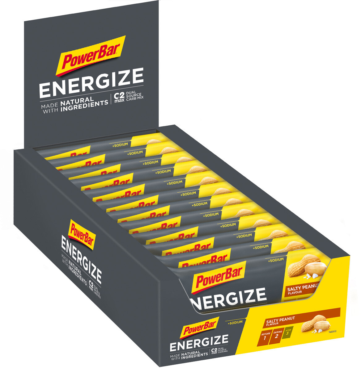 PowerBar Energize Made with Natural Ingredients Bar Box 25x55g, Salty Peanut (2019)   Energy bar