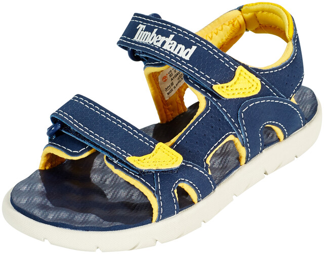 Timberland Perkins Row 2-Strap Navy//Yellow Synthetic Infant Strap Sandals