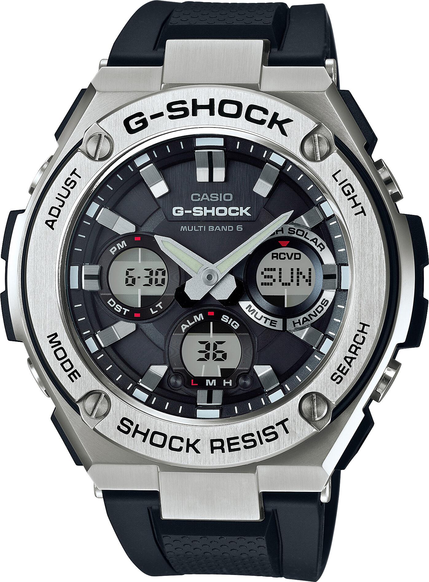 CASIO G-SHOCK GST-W110-1AER Watch Men, black silver/white black   Sports watches