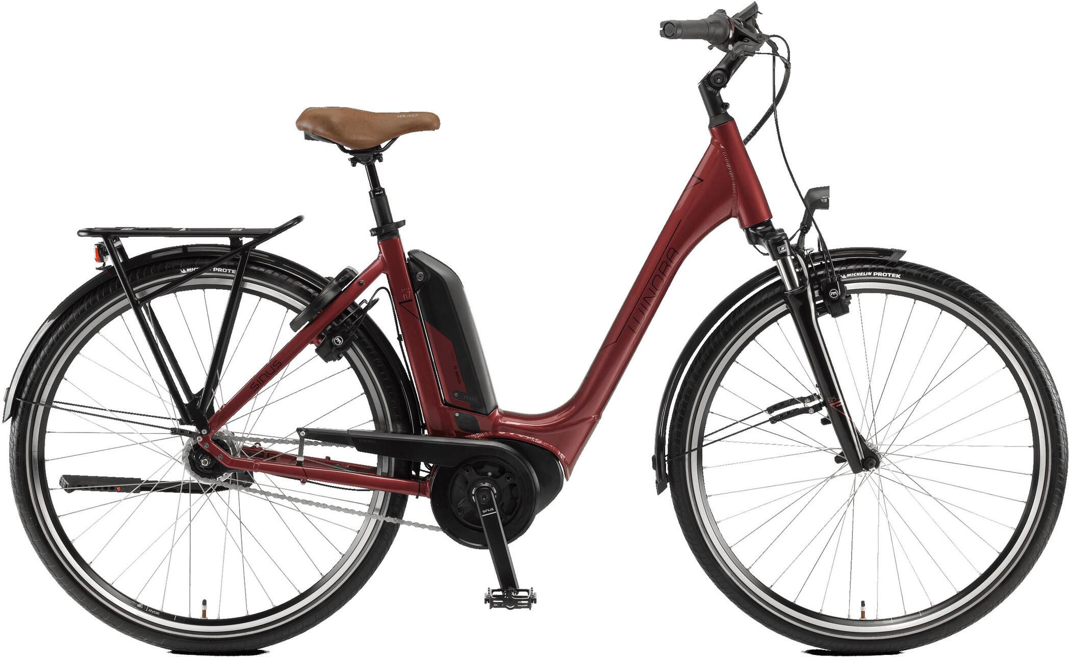 Winora Sinus Tria N7 Monotube, velvet red   City-cykler